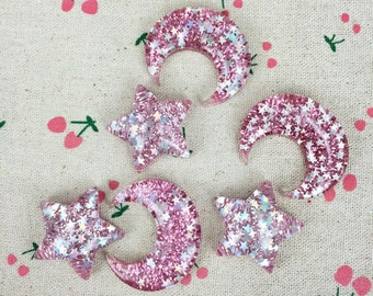 10Pieces Mixed Style Resin Flatback Flat Back Cabochon Kawaii DIY Resin Craft Decoration Star Moon With Glitter Handmade Accessories