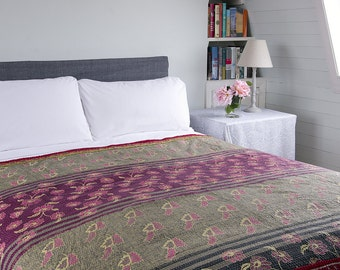 KANTHA THROW - Pink, purple and green. Reverse same plus turquoise - Unique, one of a kind.