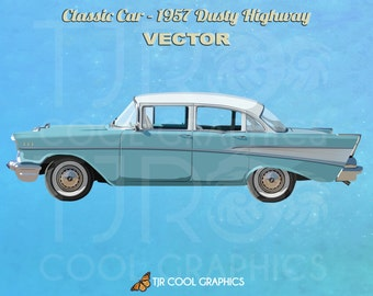Classic Car 1957 Dusty Highway, Vector, Digital Realistic Clip Art, Commercial, EPS, Printable, Vehicle, Engine