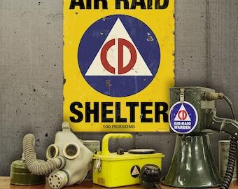 Air Raid Shelter Civil Defense Game Room Sign - #56223