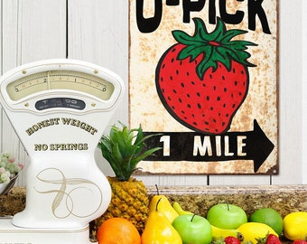 U-Pick Strawberries Farm Stand Metal Sign - #71350
