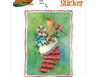 Christmas Stocking Holiday Vinyl Sticker - #65682