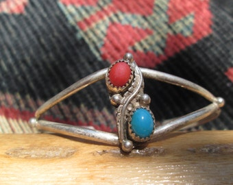 Native American Turquoise, Coral and Sterling Silver Feather Cuff Bracelet