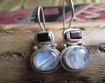 Moonstone, Garnet and Sterling Dangle Earrings