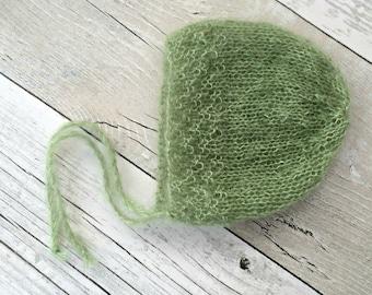 Hand Knitted Baby Bonnet, Newborn Photography Photoprops, Newborn Mohair Bonnet Baby, Props for Photography, Newborn Boy Props, Photo Props