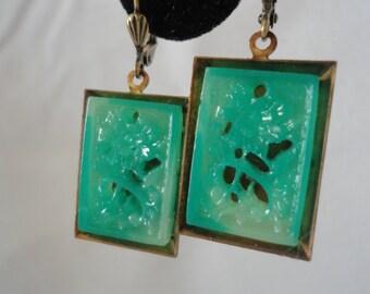 Vintage Brass Frame Carved Green Tree Earrings*******.