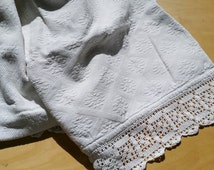 French vintage baby crib cover ,baby pad cover , crochet lace  trim , white baby cover , child  cover