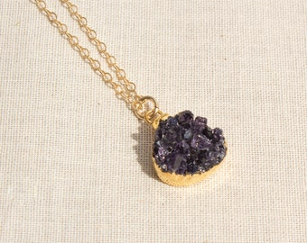 24k Gold Edged Purple amethyst Druzy Gold Filled Necklace