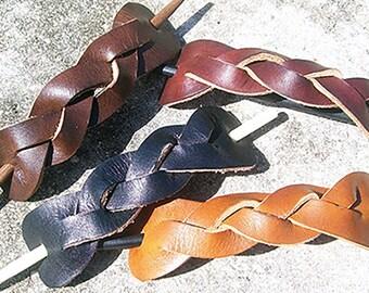 Extra Large Retro Style Braided Leather Stick Barrettes