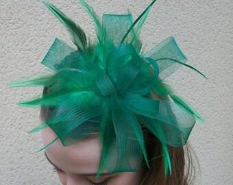 Green Fascinator Headband Green Hair Fascinator for Wedding Evening wear Green Races Fascinator Kentucky Derby Fascinator