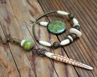 Manaka asymmetrical nomad tribe primitive earrings