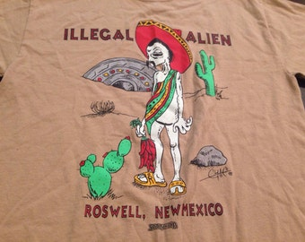 Vintage Roswell New Mexico UFO Illegal Alien T Shirt - Hipster Indie
