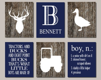 DEER Nursery Decor Deer Nursery Wall Art Tractor Nursery Duck Hunting Baby Boy Nursery Decor Country Nursery Set of 6 Prints Or Canvas