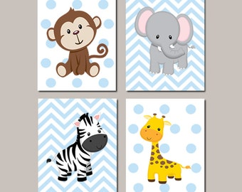 JUNGLE Nursery Wall Art ELEPHANT Giraffe Zebra Monkey Set of 4 Prints Or Canvas Zoo Animals Baby Boy Decor Wall ART Jungle Decor Bedding