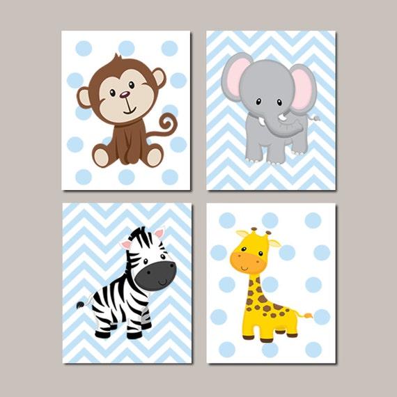 Jungle nursery wall art elephant giraffe zebra monkey set of 4 for Sticker para decorar dormitorios