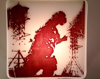 Fused Glass Night Light Godzilla