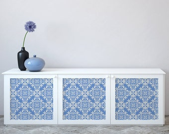 Furniture decal BLUE DECOR ideal for dressers, cabinets, closets, beds, flower pattern,furniture decor,kitchen cabinet decal