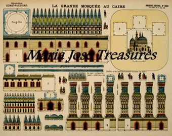 Vintage D'Epinal Pellerin Great Mosque, Cairo, Egypt, Paper Model Cut Outs - Digital Download