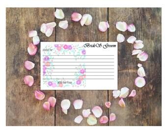 "Purple Passion Wedding ""Advice"" Cards Customizable - Printable Digital Download"