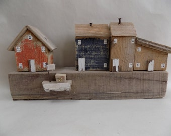 Driftwood Harbour Scene - handmade with recycled materials