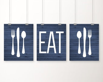 Eat Kitchen Art Print, Blue Rustic Wood 'Look', Fork Spoon Knife Art, Set of Three 5x7, 8X10, 11x14 Kitchen Decor, Blue Kitchen Wall Art