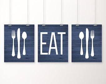 Eat Kitchen Art Print Blue Rustic Wood Look Fork Spoon Knife Art Set Of Three 5x7 8x10 11x14 Kitchen Decor Blue Kitchen Wall Art