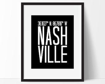 Nashville Tennessee Art Print, Tennessee Art, City Art, Nashville Tn, Nashville Coordinates,Typography, Black & White Art
