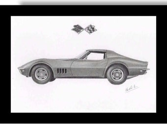 Pencil drawing of a 1968 Chevrolet Corvette