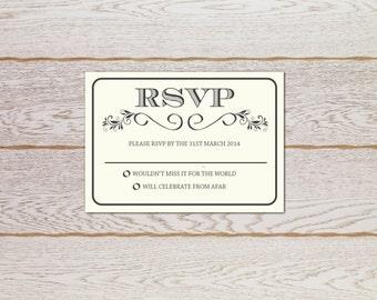 Rustic Elegant wedding invitation - RSVP