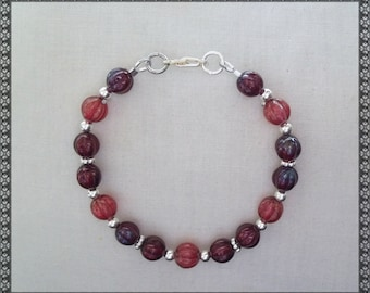 red bracelet, light red bracelet, dark red bracelet, light red, silver