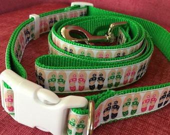 Jack Rogers Sandals Print Dog Collar and Leash Set Size Large