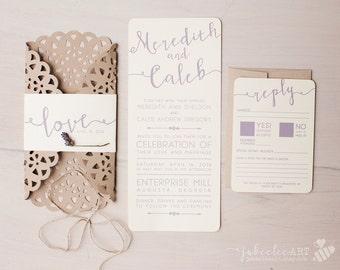 modern calligraphy printable invitation, rustic elegant wedding invitation, lavender wedding