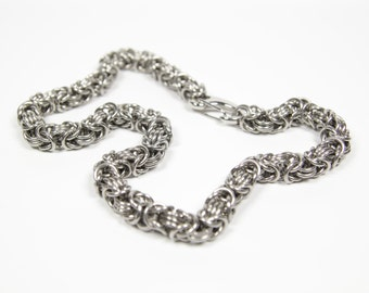 Byzantine-3 Necklace, Chainmaille Necklace, Stainless Steel, Byzantine Necklace, Chainmail, Chain Maille, Mens Necklace, Mens Jewelry