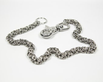 Byzantine-3 Wallet Chain, Stainless Steel, Chainmaille Biker Wallet Chain, Chainmail Chain, Trouser Chain, Biker Chain Belt, Swivel Clasp