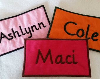 2x4 Name Patches - Iron On - Rectangle shaped with Straight Edges - Biker Tags Sew On Tag
