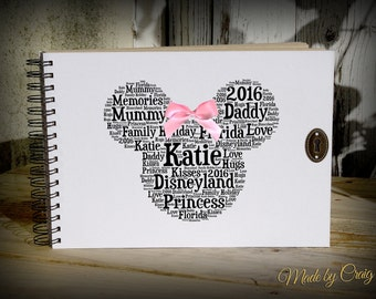 Personalised Disney Autograph Book, Scrapbook, Photo Album, Keepsake, Photo Book, Disneyland, Holiday, Paris/Florida, Minnie Mouse Bow