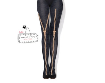 GOLDEN ZIPPERS - melange hand printed tights