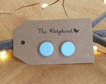 Hot studs- polymer clay earrings in palest of pale blue