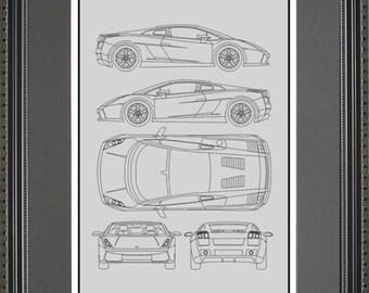 Bmw blueprint collection drawing art car auto gift bbmwo2024 lamborghini blueprint framed art car auto gift choose your model blamb malvernweather Choice Image