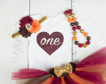 """FALL Baby Girl 1st Birthday Outfit, """"One"""" Outfit, Burgundy birthday, Girls First Birthday Outfit, Thanksgiving Outfit, Girls Birthday Set"""