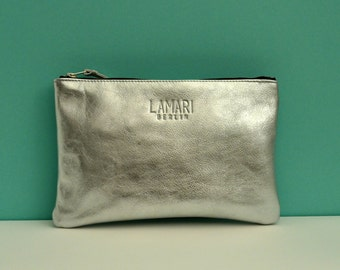 Leather Cosmetic Pouch JUNE BIG Silver