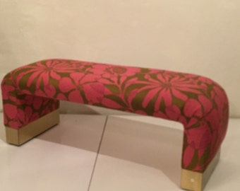 Pink Upholstered Bench with Brass Accents