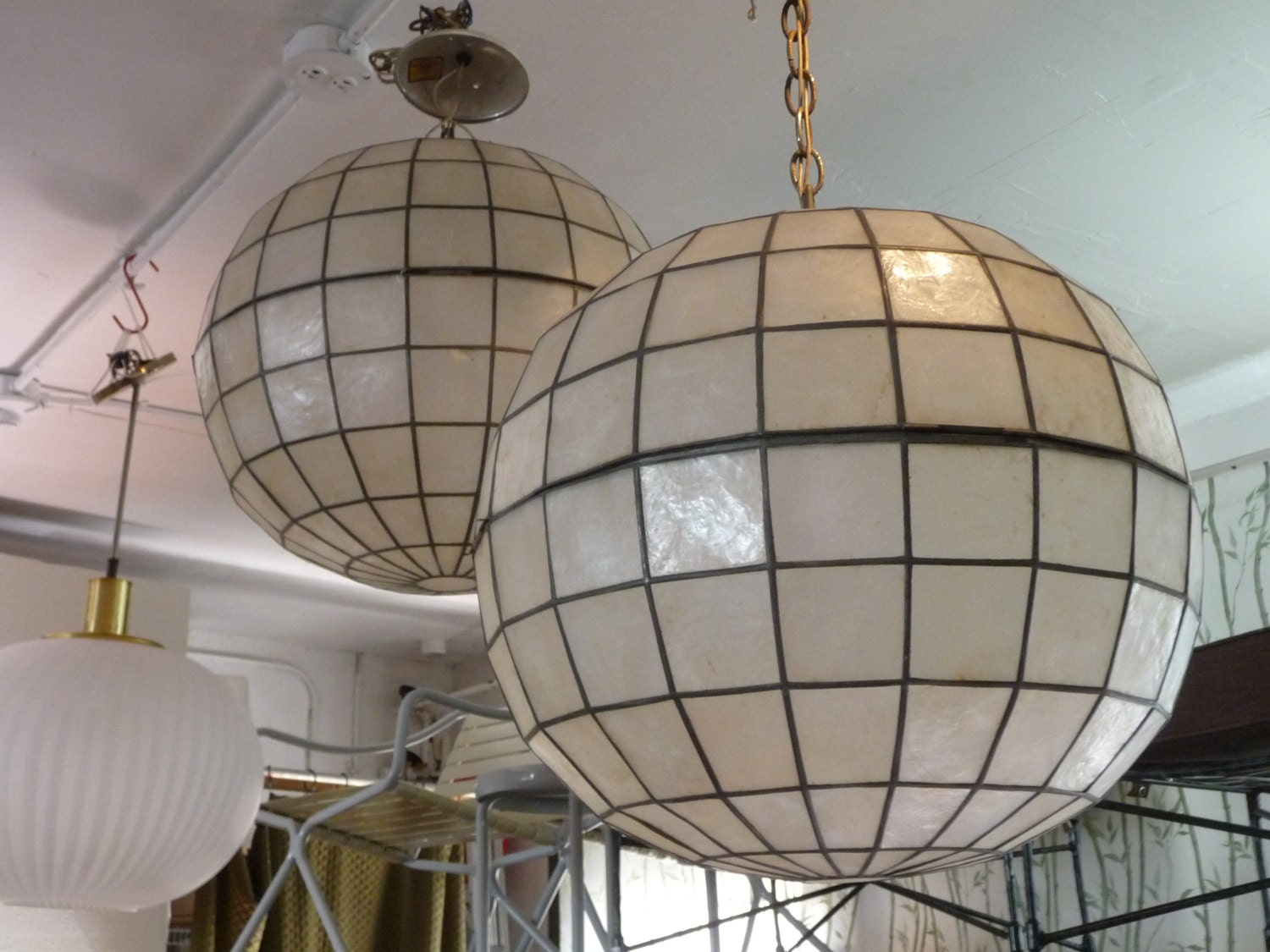 pair of capiz shell pendant globe lights by xcapevintage. Black Bedroom Furniture Sets. Home Design Ideas