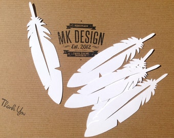 Feather paper Cut - Bird Feather Cut - White Feather - Scrapbooking cuts