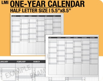 2018 / 1-year Calendar / fold into Half Letter - Inserts Refills Filofax Binder Collins