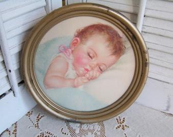 Vintage Framed Print of a Sleeping Baby by Newton Manufacturing Co Newton Ohio Round Nursery Decor