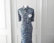 Citilites floral print dress  summer vintage dress mid length dress 1980's vintage dress size 16