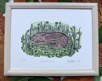 Forest Floor Pig Lino Print