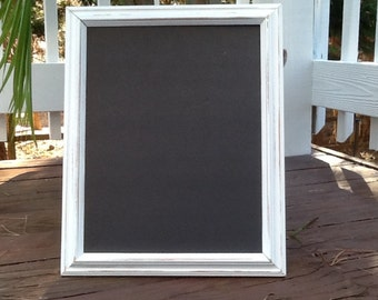 large shabby chic distressed white chalkboard frame 11 x 14 framed chalkboard message board