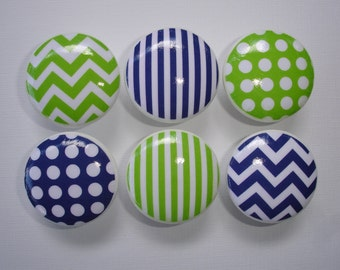 Set of 6 Navy and Lime Green Chevron Polka Dot Stripe Dresser Drawer Knobs